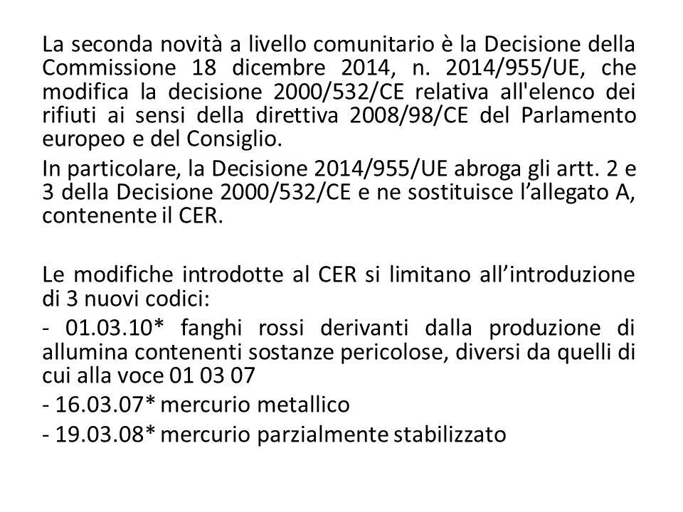 La seconda novità a livello comunitario è la Decisione della Commissione 18 dicembre 2014, n. 2014/955/UE, che modifica la decisione 2000/532/CE relativa all elenco dei rifiuti ai sensi della direttiva 2008/98/CE del Parlamento europeo e del Consiglio.