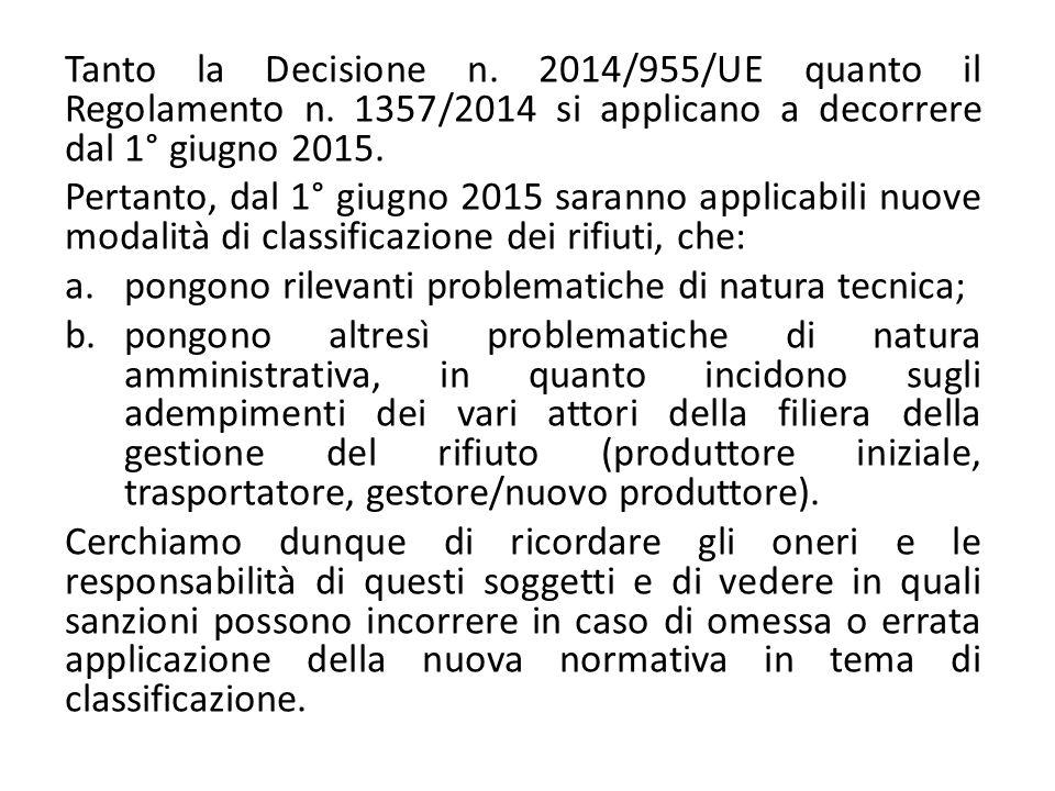 Tanto la Decisione n. 2014/955/UE quanto il Regolamento n