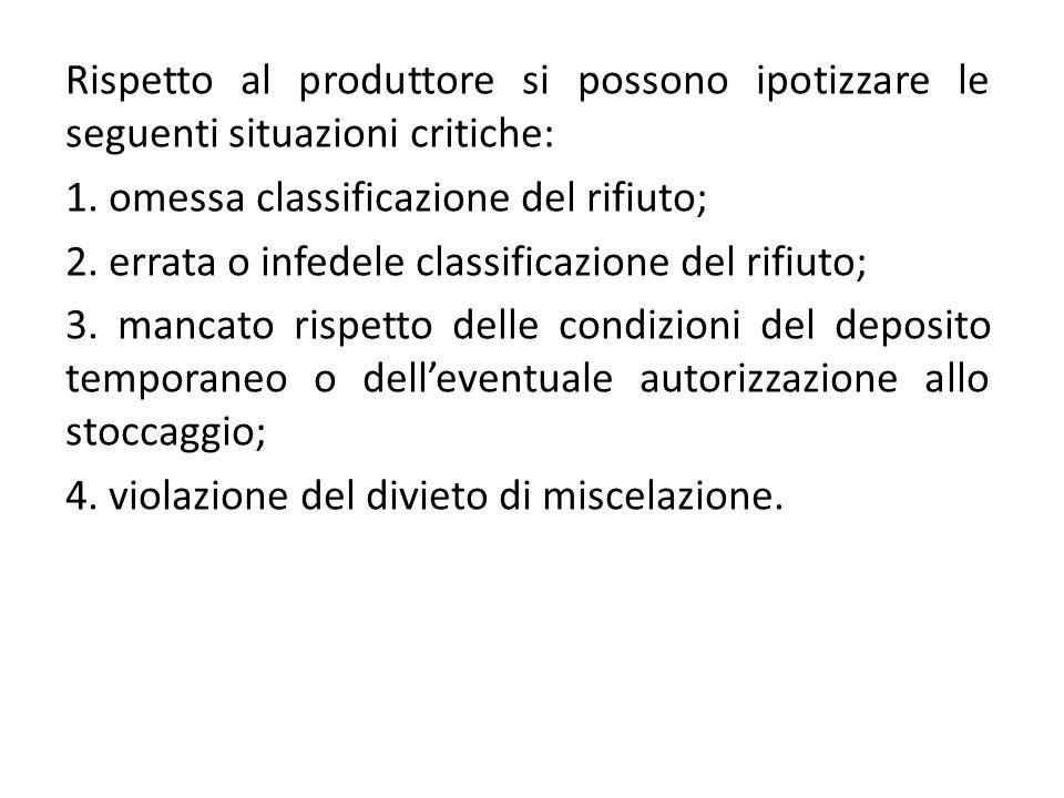 Rispetto al produttore si possono ipotizzare le seguenti situazioni critiche: