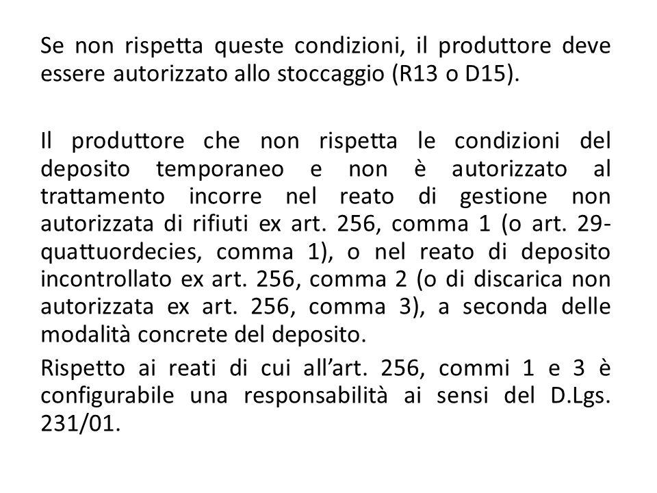 Se non rispetta queste condizioni, il produttore deve essere autorizzato allo stoccaggio (R13 o D15).