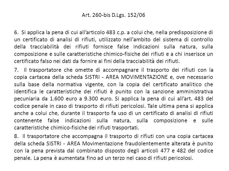 Art. 260-bis D.Lgs. 152/06