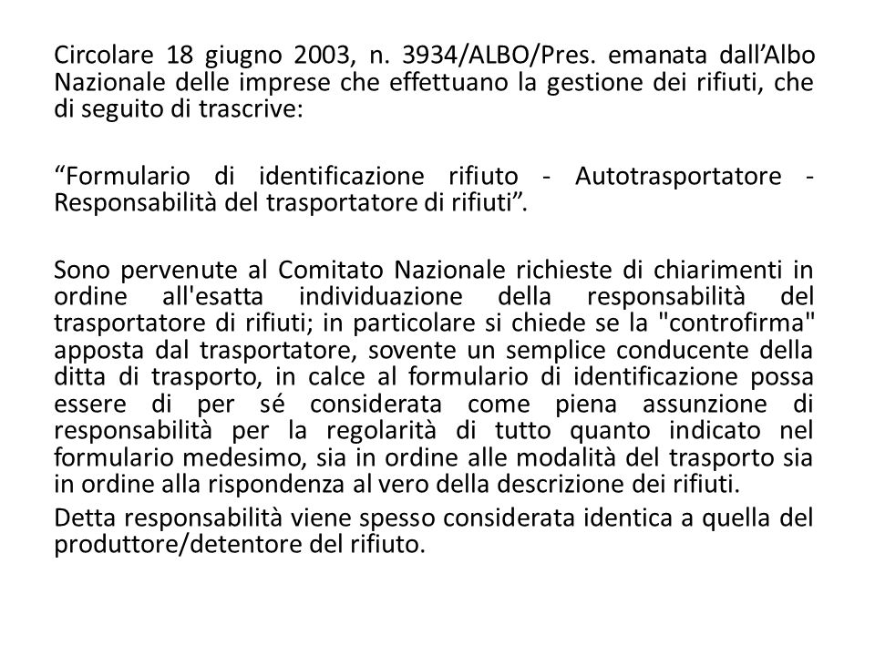 Circolare 18 giugno 2003, n. 3934/ALBO/Pres
