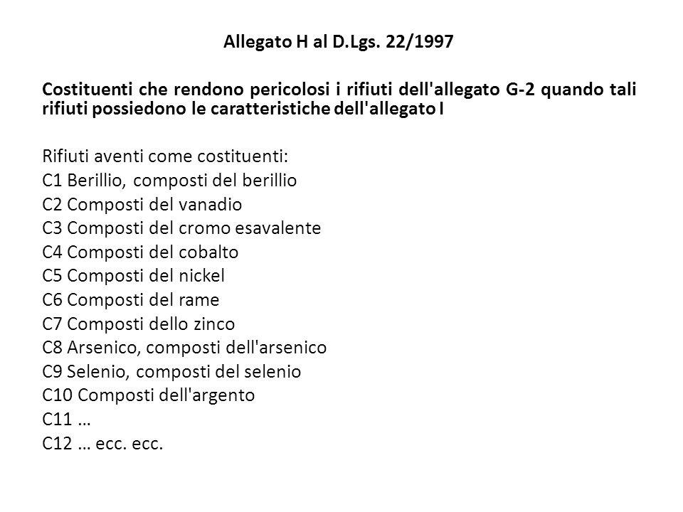 Allegato H al D.Lgs. 22/1997