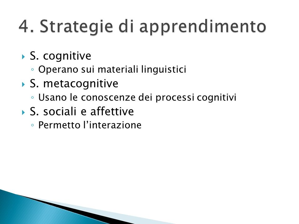 4. Strategie di apprendimento