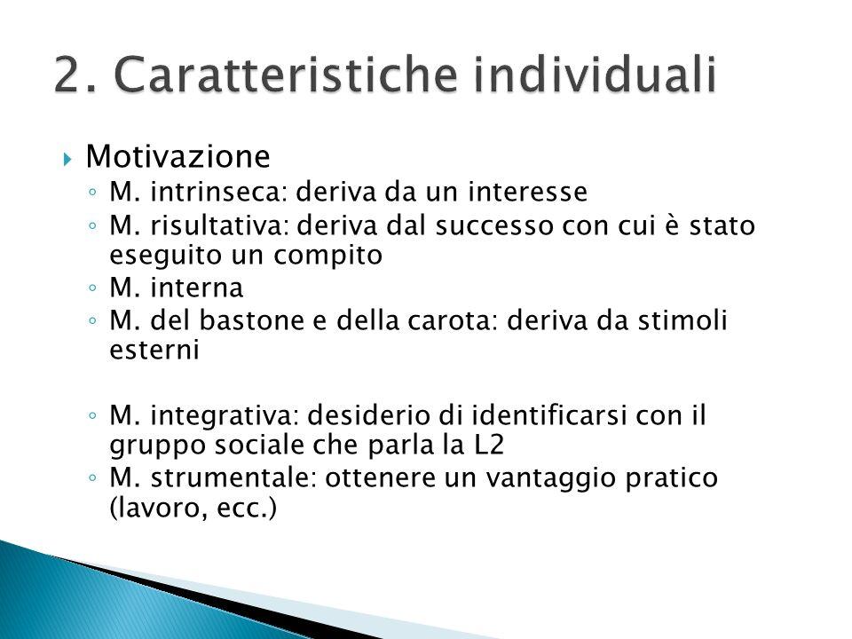 2. Caratteristiche individuali