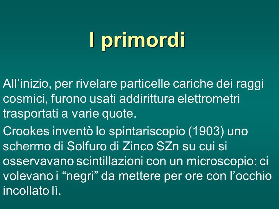 I primordi All'inizio, per rivelare particelle cariche dei raggi cosmici, furono usati addirittura elettrometri trasportati a varie quote.