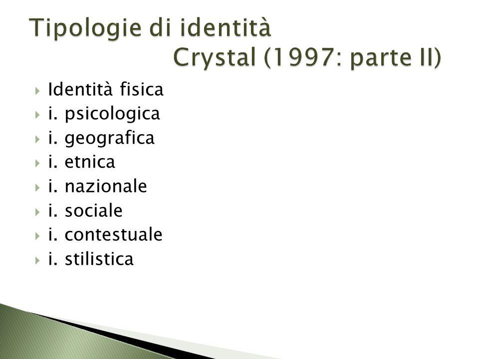 Tipologie di identità Crystal (1997: parte II)