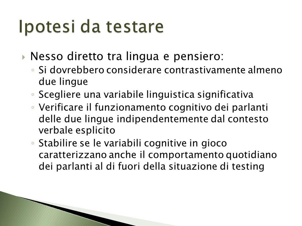 Ipotesi da testare Nesso diretto tra lingua e pensiero: