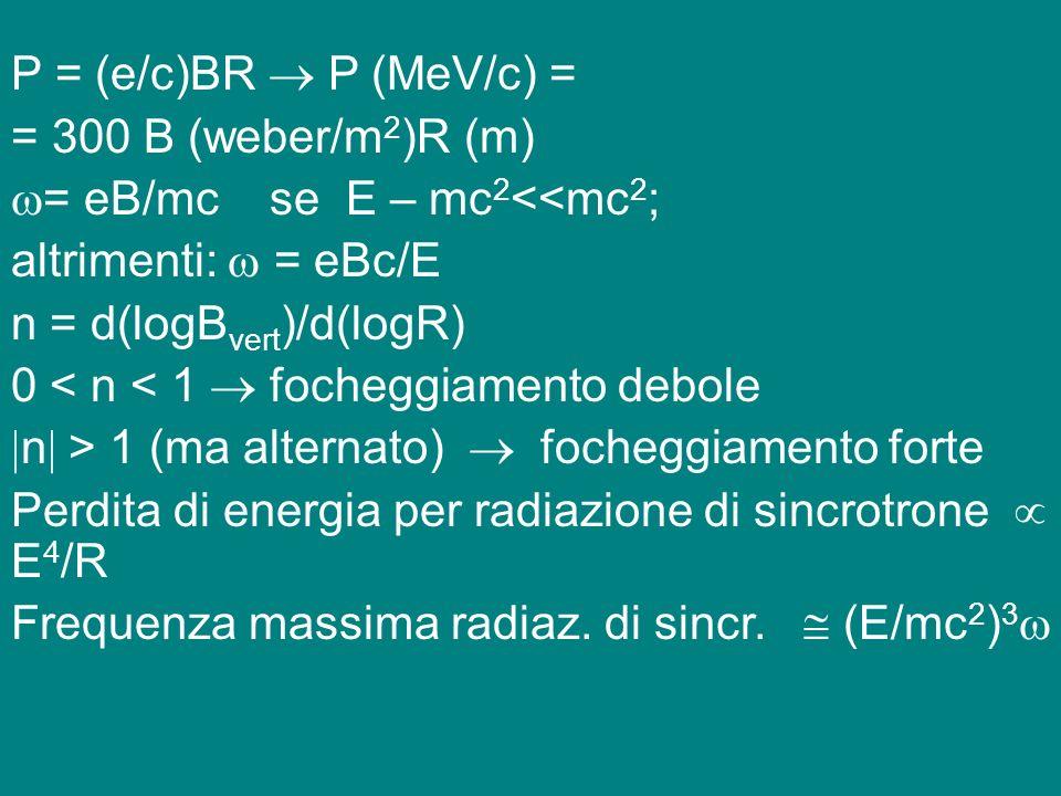 P = (e/c)BR  P (MeV/c) = = 300 B (weber/m2)R (m) = eB/mc se E – mc2<<mc2; altrimenti:  = eBc/E.