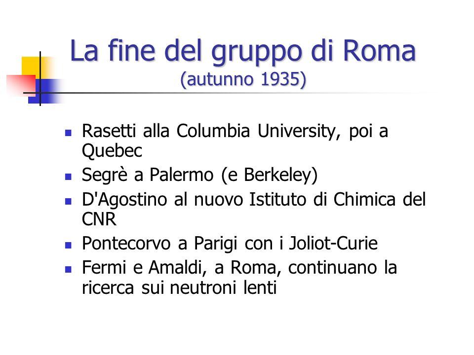 La fine del gruppo di Roma (autunno 1935)