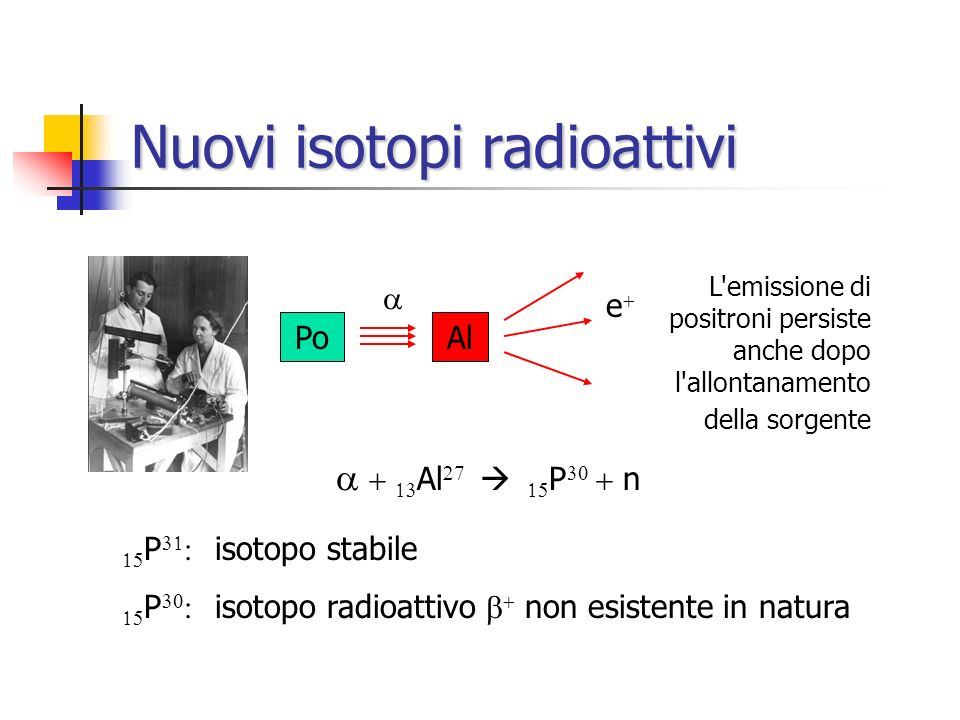 Nuovi isotopi radioattivi
