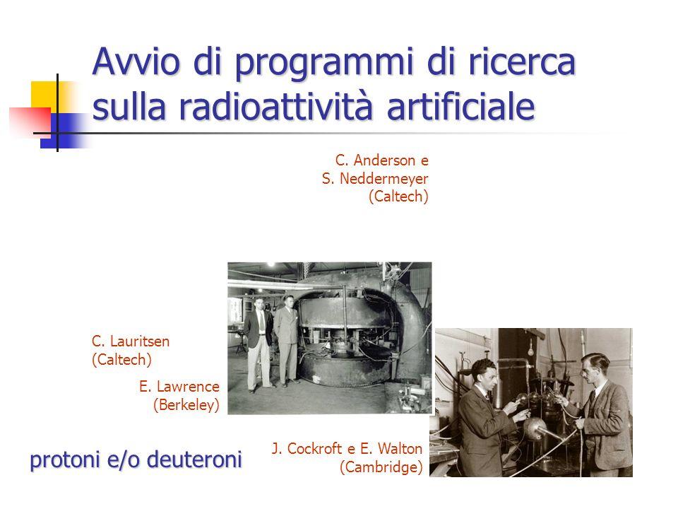 Avvio di programmi di ricerca sulla radioattività artificiale