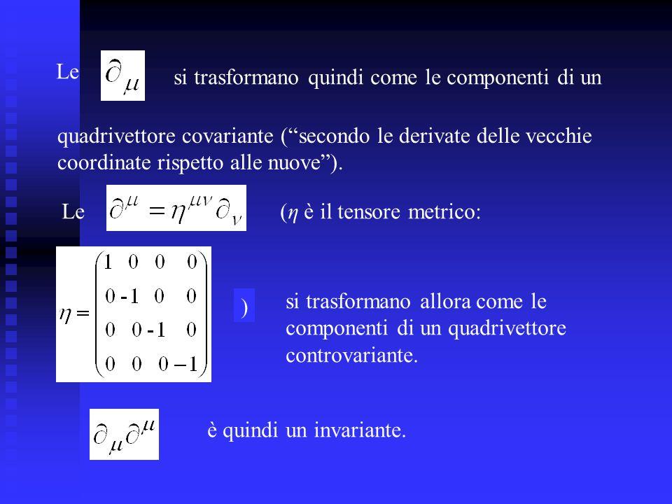 Le si trasformano quindi come le componenti di un. quadrivettore covariante ( secondo le derivate delle vecchie.