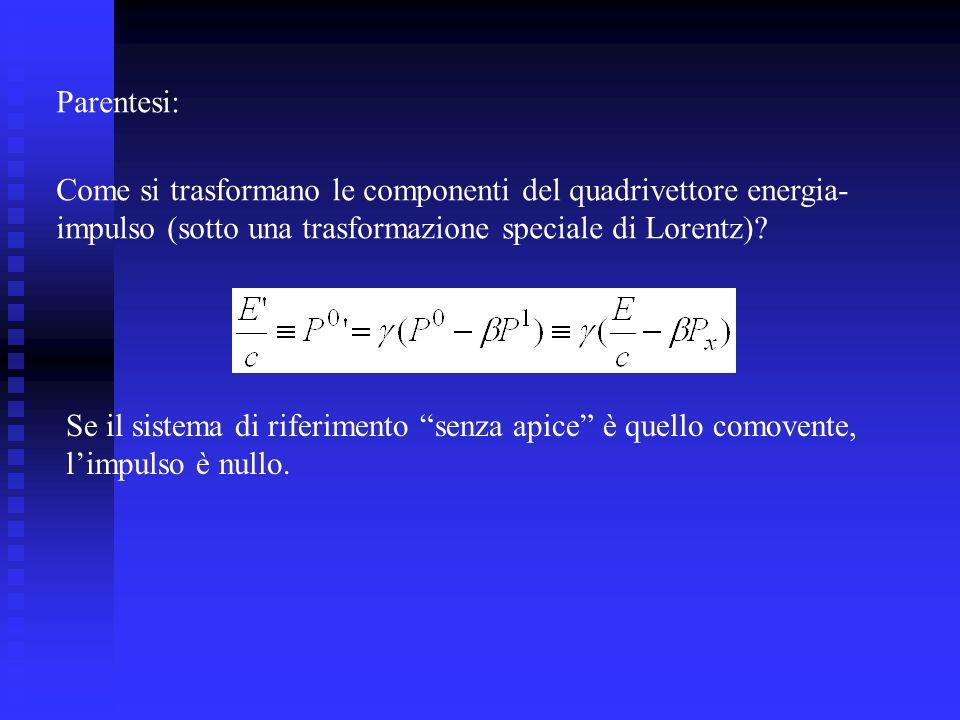 Parentesi: Come si trasformano le componenti del quadrivettore energia- impulso (sotto una trasformazione speciale di Lorentz)
