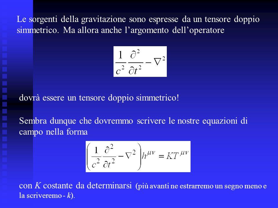 Le sorgenti della gravitazione sono espresse da un tensore doppio