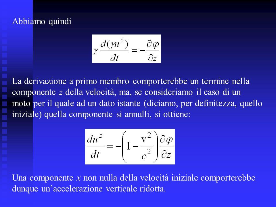 Abbiamo quindi La derivazione a primo membro comporterebbe un termine nella. componente z della velocità, ma, se consideriamo il caso di un.