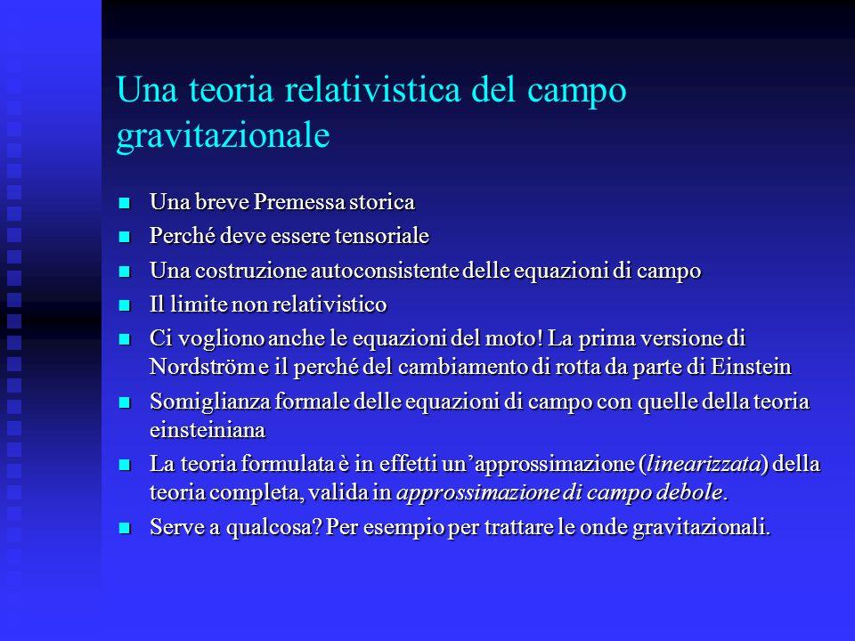 Una teoria relativistica del campo gravitazionale