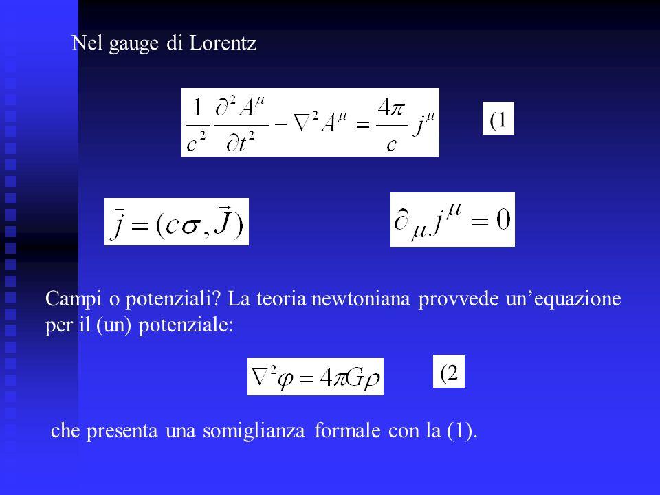 Nel gauge di Lorentz (1. Campi o potenziali La teoria newtoniana provvede un'equazione. per il (un) potenziale: