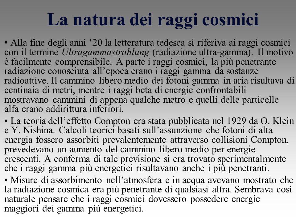 La natura dei raggi cosmici
