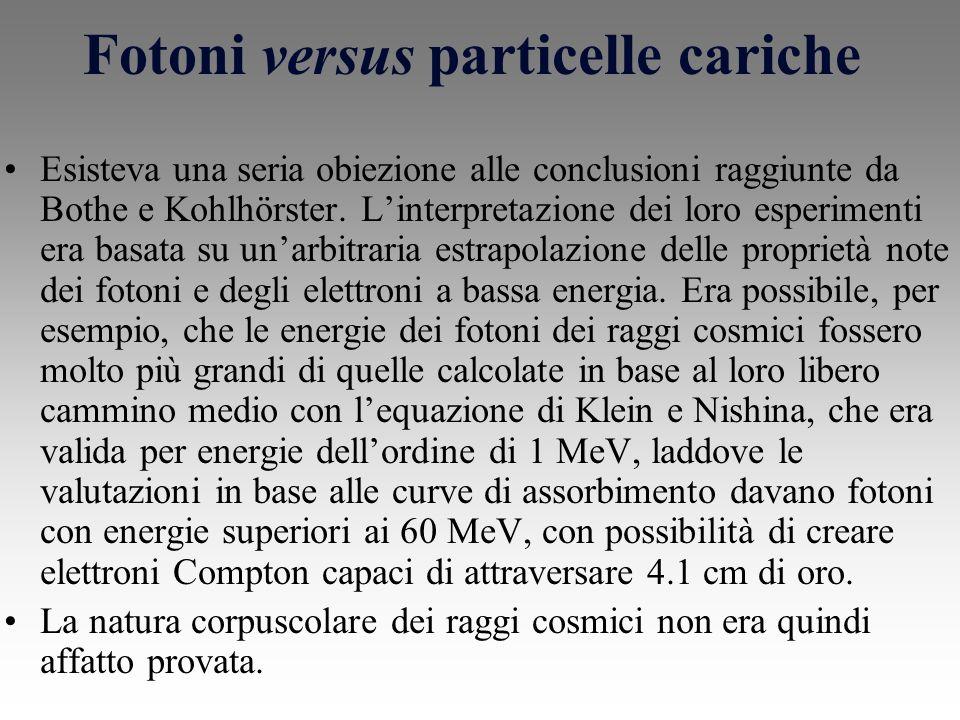 Fotoni versus particelle cariche
