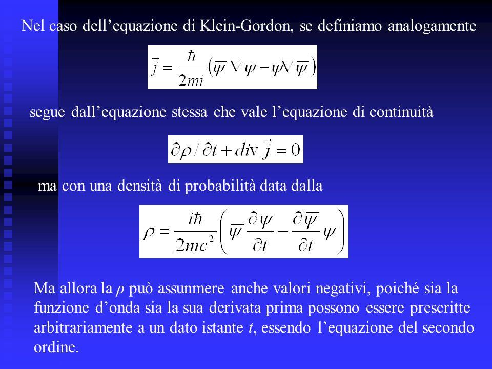 Nel caso dell'equazione di Klein-Gordon, se definiamo analogamente