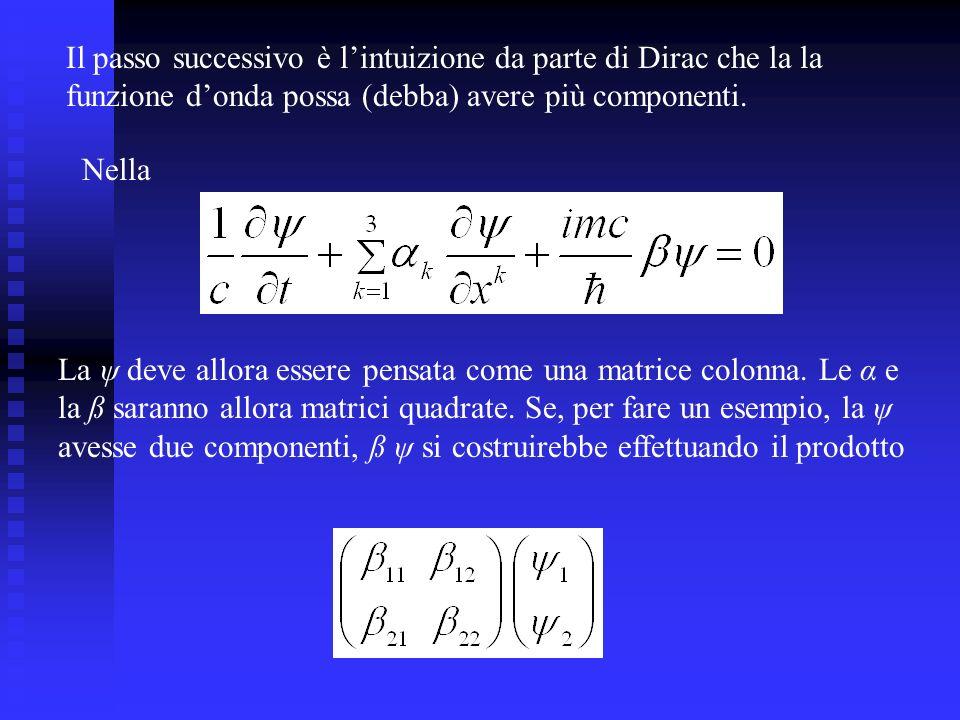 Il passo successivo è l'intuizione da parte di Dirac che la la