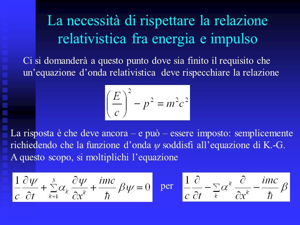 La necessità di rispettare la relazione relativistica fra energia e impulso