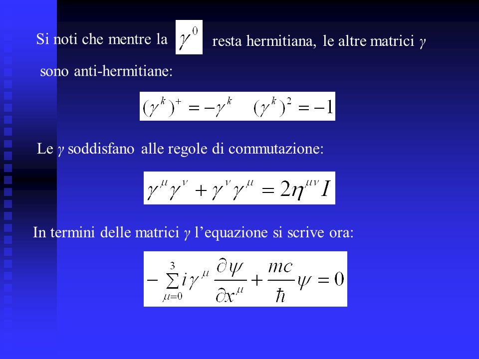 Si noti che mentre la resta hermitiana, le altre matrici γ. sono anti-hermitiane: Le γ soddisfano alle regole di commutazione:
