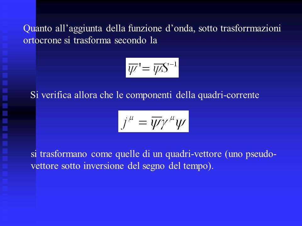 Quanto all'aggiunta della funzione d'onda, sotto trasforrmazioni