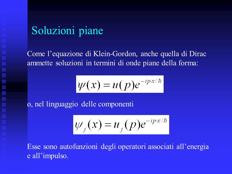 Soluzioni piane Come l'equazione di Klein-Gordon, anche quella di Dirac. ammette soluzioni in termini di onde piane della forma: