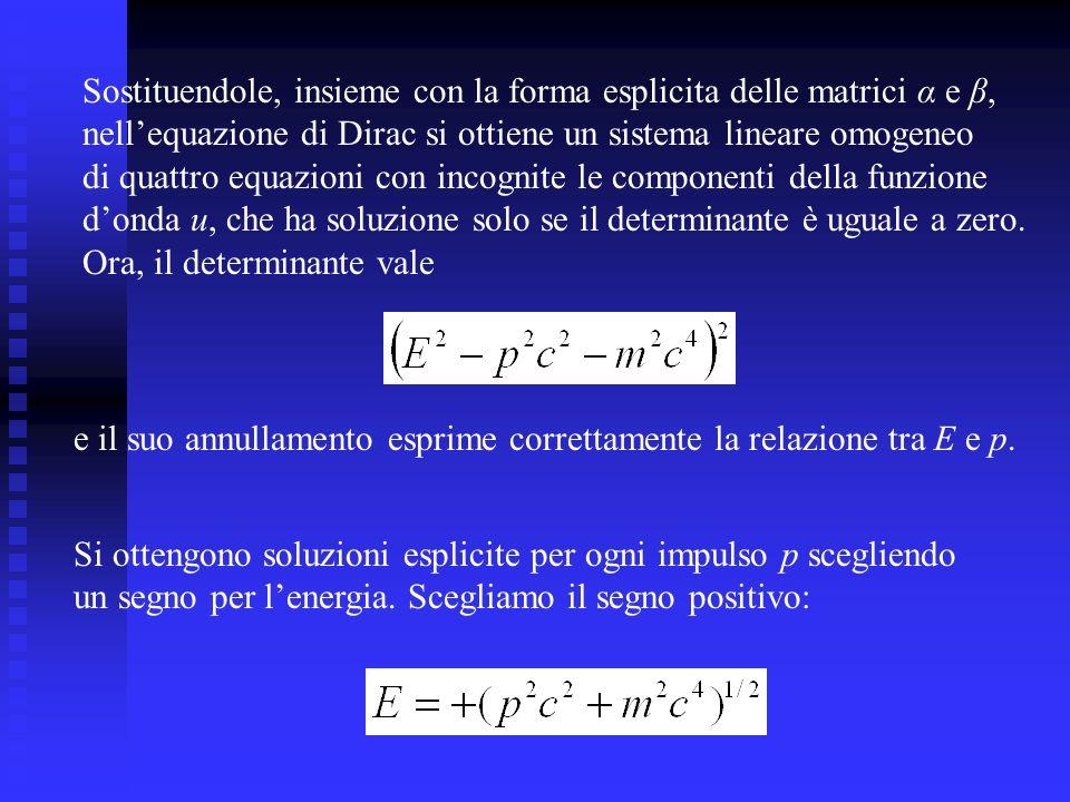 Sostituendole, insieme con la forma esplicita delle matrici α e β,
