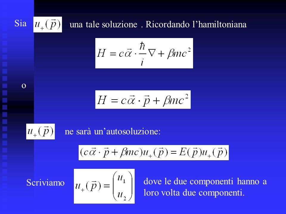 Sia una tale soluzione . Ricordando l'hamiltoniana. o. ne sarà un'autosoluzione: Scriviamo. dove le due componenti hanno a.
