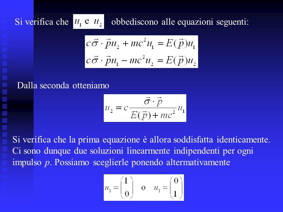 Si verifica che obbediscono alle equazioni seguenti: Dalla seconda otteniamo.