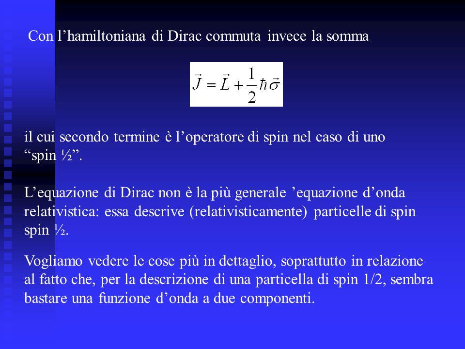 Con l'hamiltoniana di Dirac commuta invece la somma