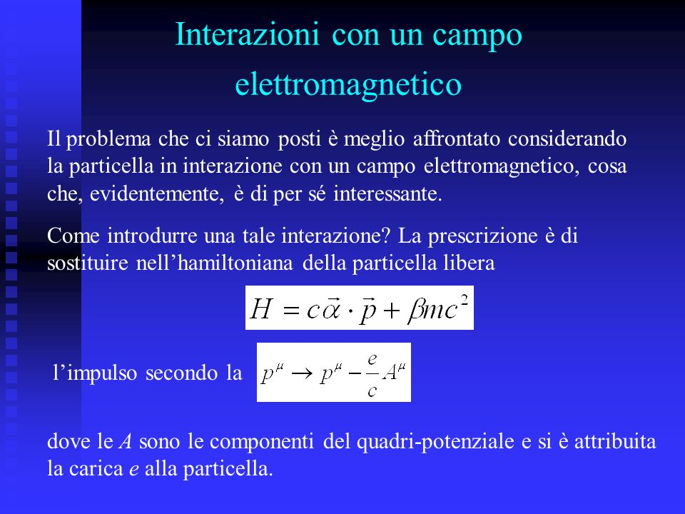 Interazioni con un campo elettromagnetico