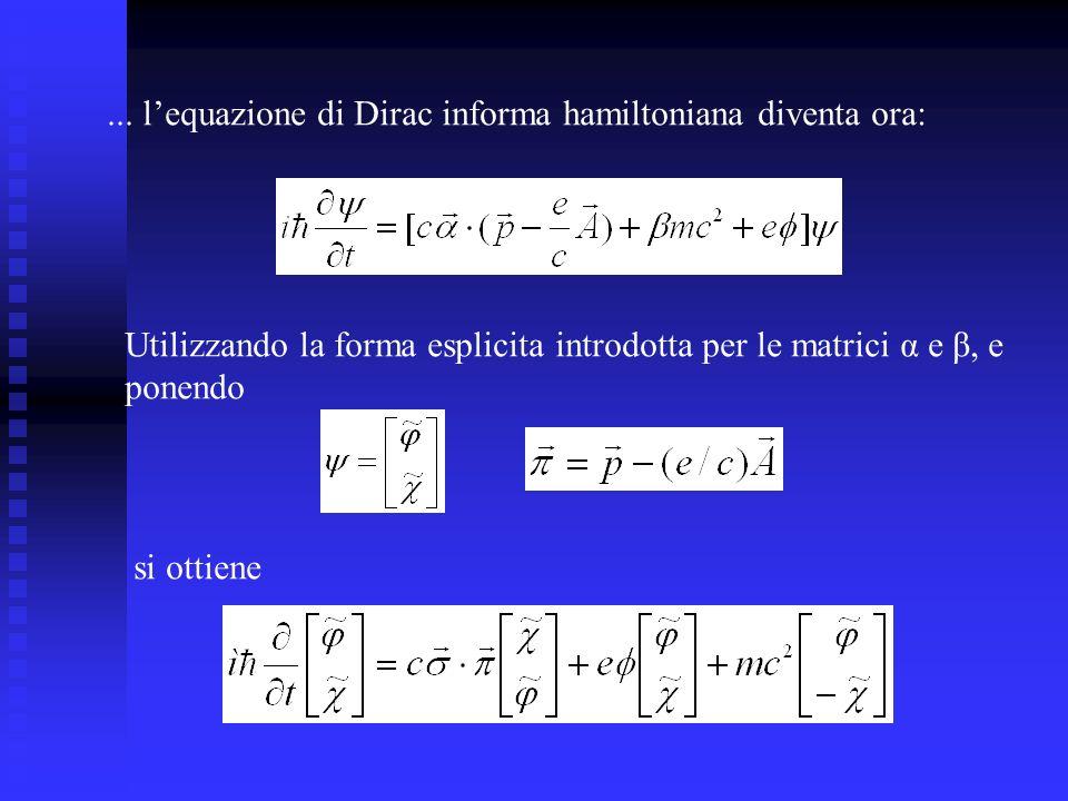 ... l'equazione di Dirac informa hamiltoniana diventa ora: