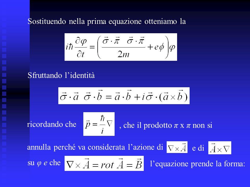 Sostituendo nella prima equazione otteniamo la