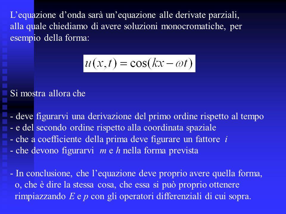 L'equazione d'onda sarà un'equazione alle derivate parziali,