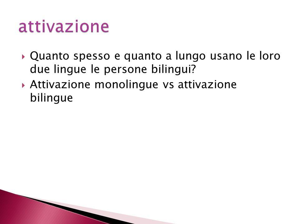 attivazione Quanto spesso e quanto a lungo usano le loro due lingue le persone bilingui.