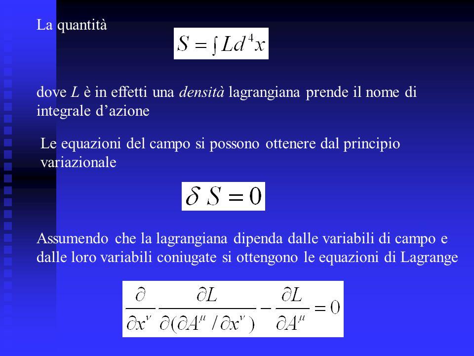 La quantità dove L è in effetti una densità lagrangiana prende il nome di. integrale d'azione.