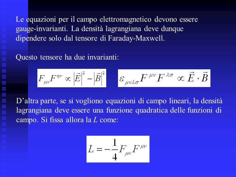 Le equazioni per il campo elettromagnetico devono essere