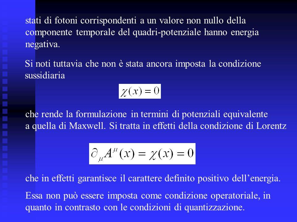 stati di fotoni corrispondenti a un valore non nullo della
