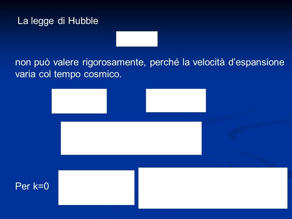 La legge di Hubble non può valere rigorosamente, perché la velocità d'espansione. varia col tempo cosmico.