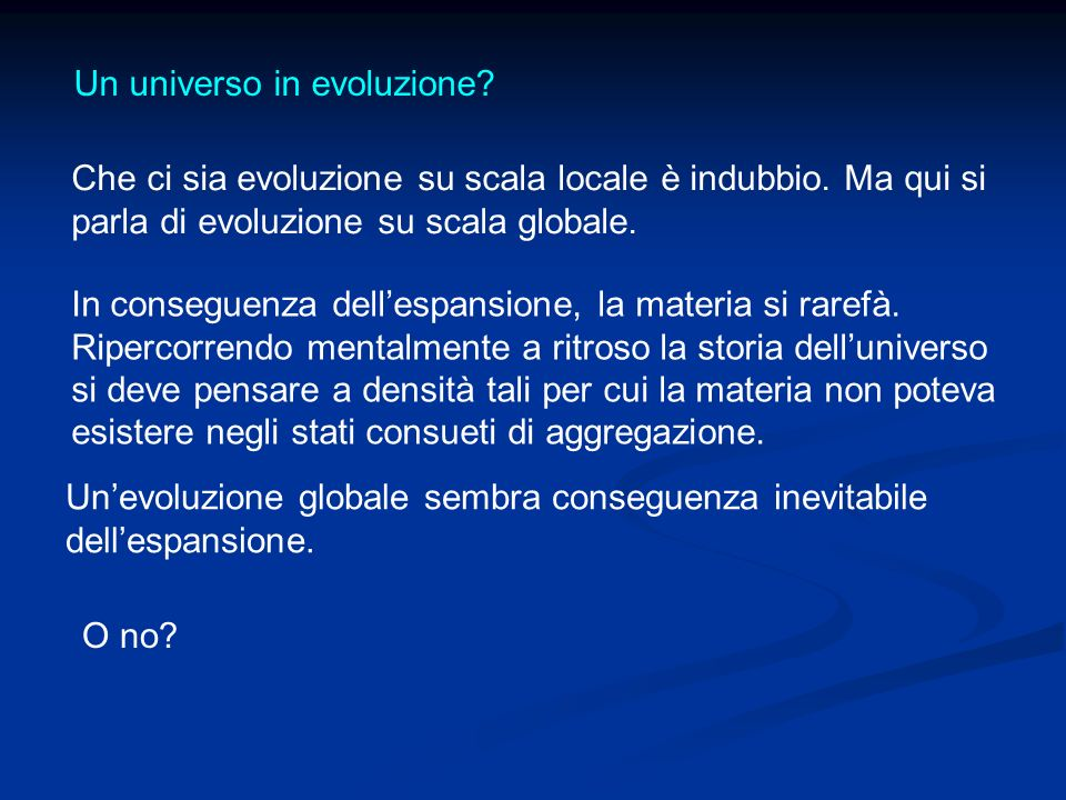 Un universo in evoluzione