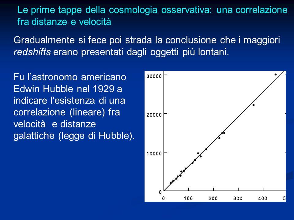 Le prime tappe della cosmologia osservativa: una correlazione