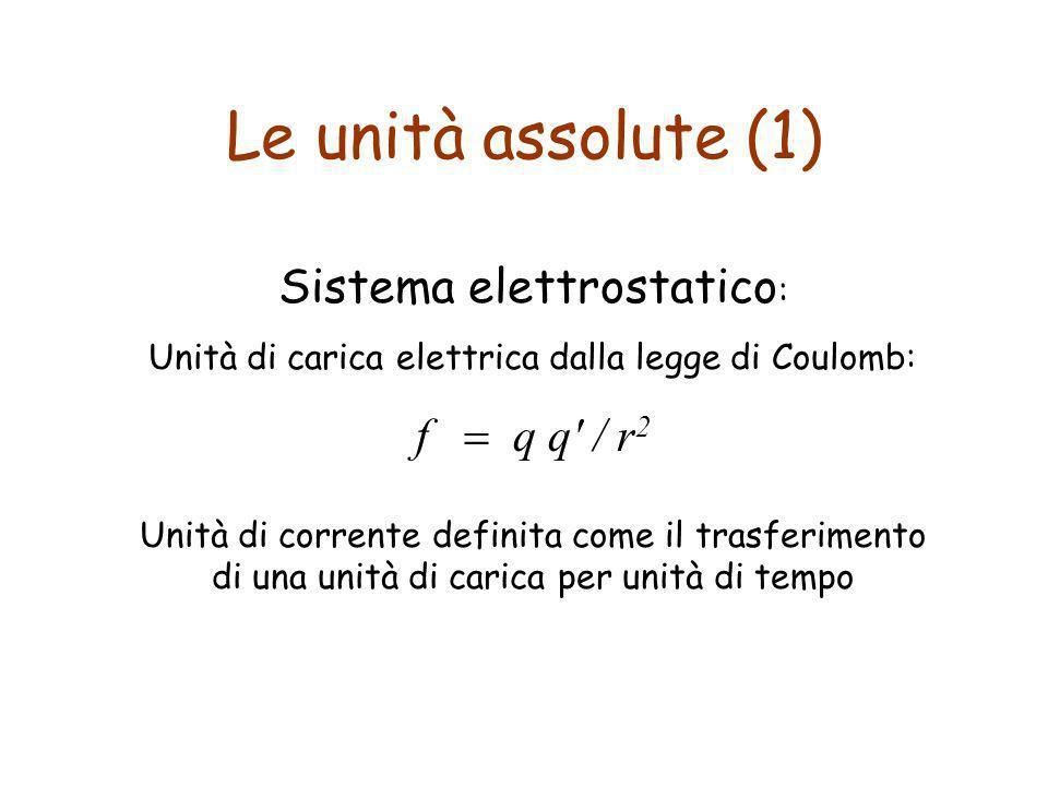 Le unità assolute (1) Sistema elettrostatico: f = q q / r2
