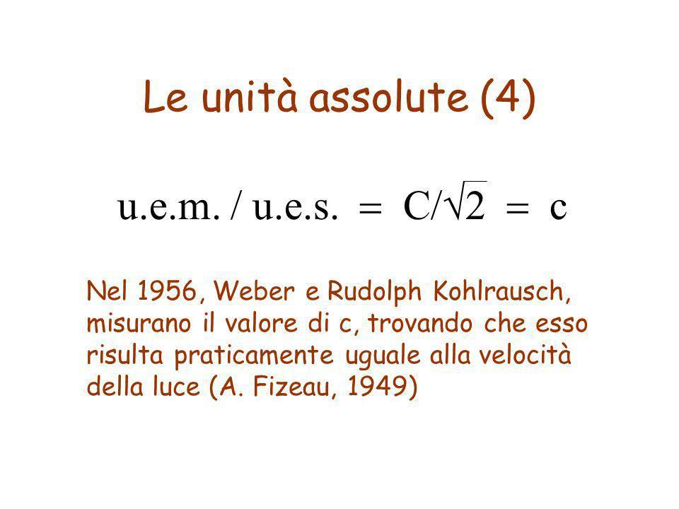 Le unità assolute (4) u.e.m. / u.e.s. = C/√2 = c