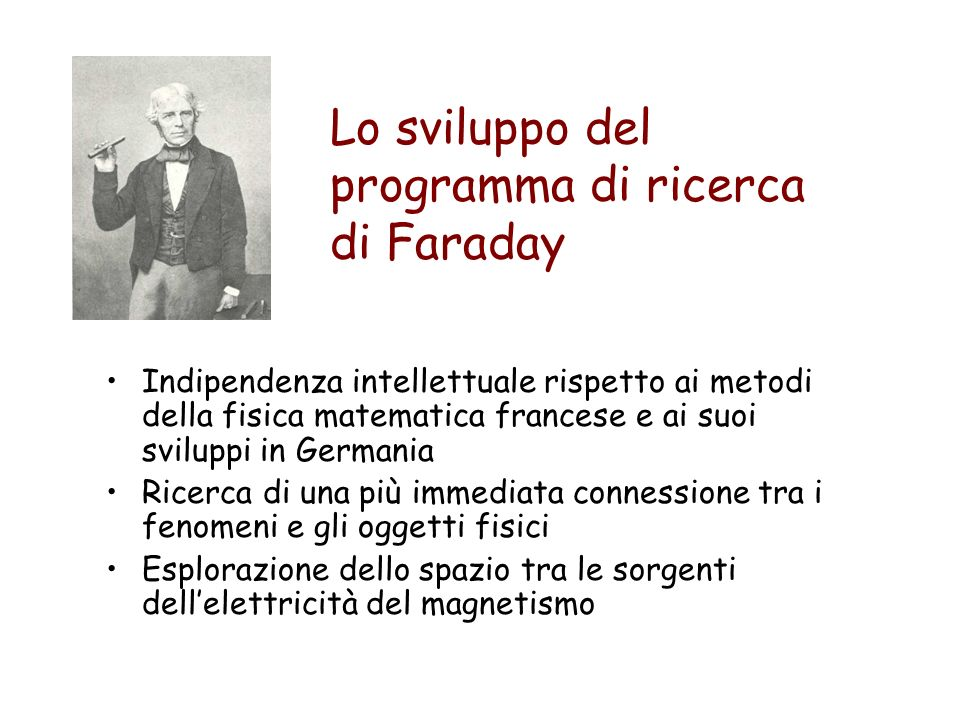 Lo sviluppo del programma di ricerca di Faraday