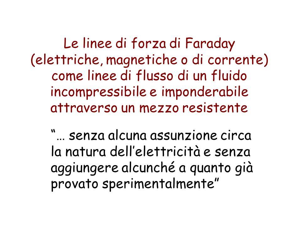 Le linee di forza di Faraday (elettriche, magnetiche o di corrente) come linee di flusso di un fluido incompressibile e imponderabile attraverso un mezzo resistente