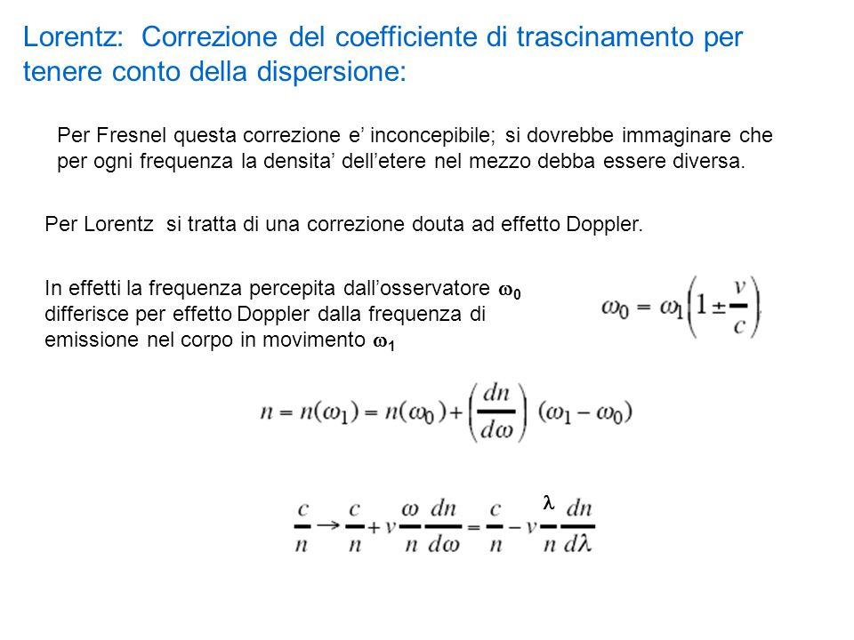 Lorentz: Correzione del coefficiente di trascinamento per tenere conto della dispersione: